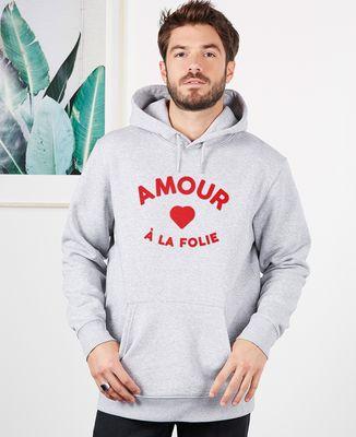 Hoodie homme Amour à la folie (effet velours)