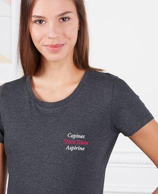 T-Shirt femme Copines, Tchin Tchin, Aspirine (brodé)