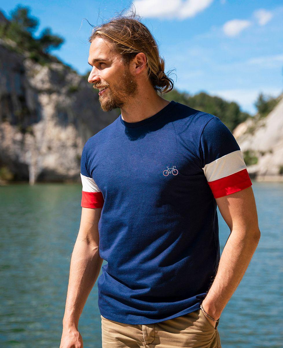 T-shirt homme recyclé Filgood Filgood Vélo tricolore (brodé)
