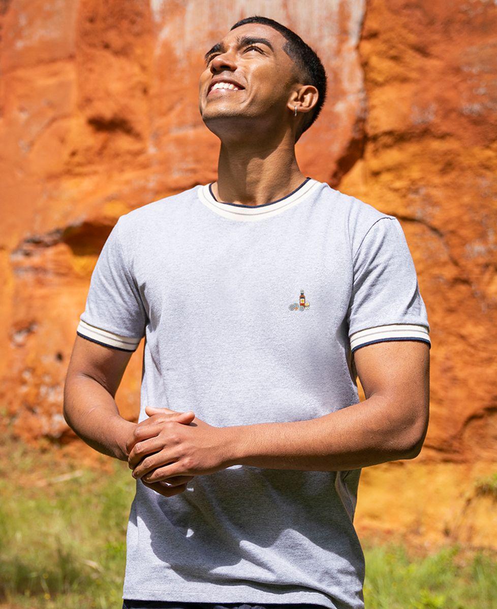 T-shirt homme recyclé Filgood Filgood p'tit jaune et pétanque (brodé)