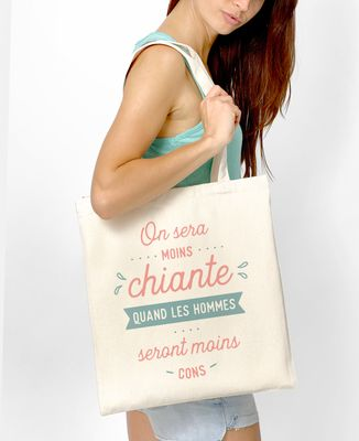Tote bag On sera moins chiante