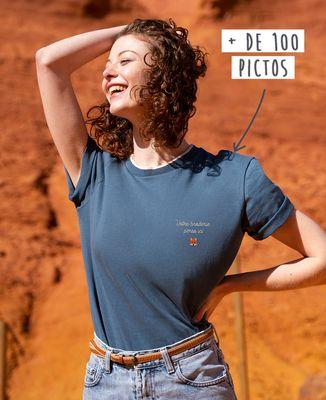 T-shirt femme recyclé Filgood Filgood message et picto brodé personnalisé