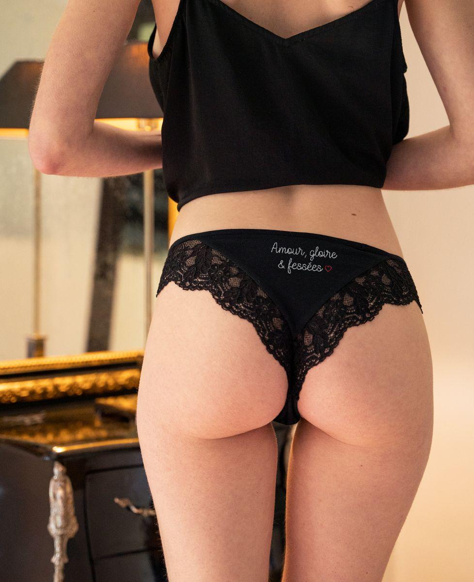 Culotte tanga Amour, gloire & fessées (brodé arrière)