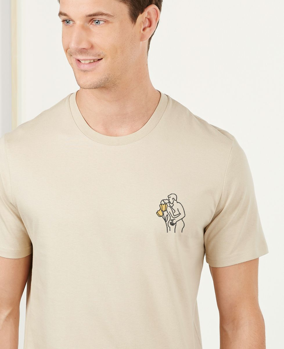 T-Shirt homme Couple nu (brodé)