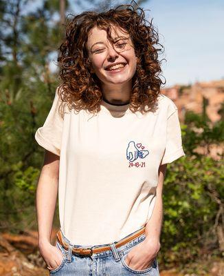 T-shirt femme recyclé Filgood Filgood Date de naissance brodé personnalisé