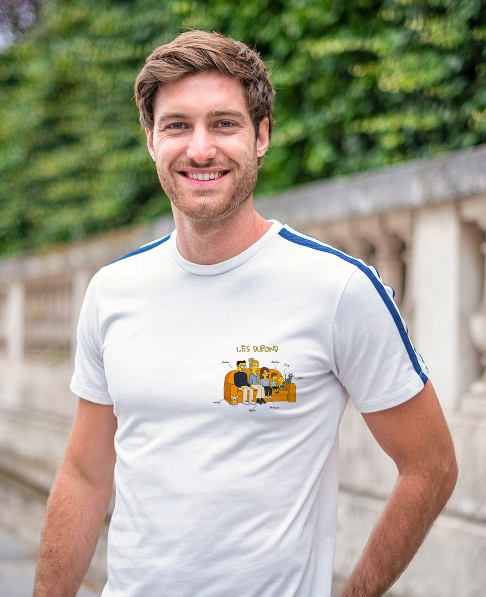 T-shirt homme recyclé Filgood Filgood Famille personnalisée cartoon
