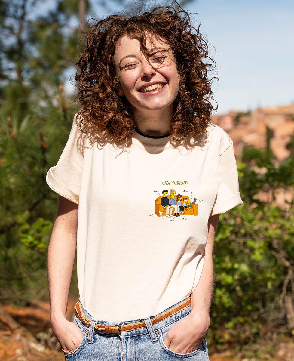 T-shirt femme recyclé Filgood Filgood Famille personnalisée cartoon