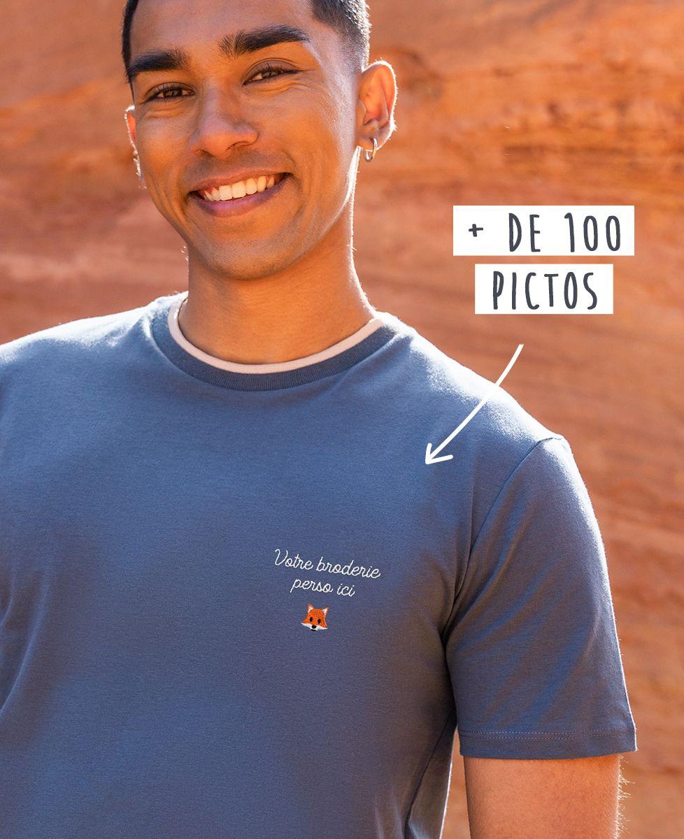 T-shirt homme recyclé Filgood Filgood message et picto brodé personnalisé