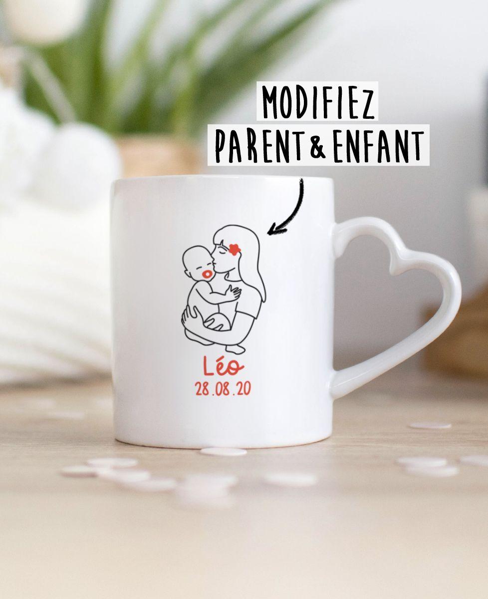 Mug Parent et bébé brodé personnalisé