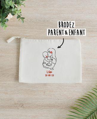 Pochette Parent et bébé brodé personnalisé