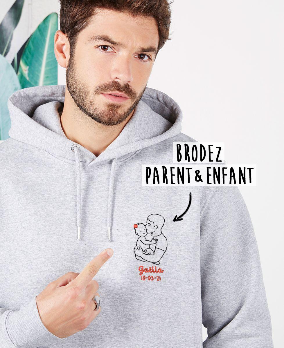 Hoodie homme Parent et bébé brodé personnalisé