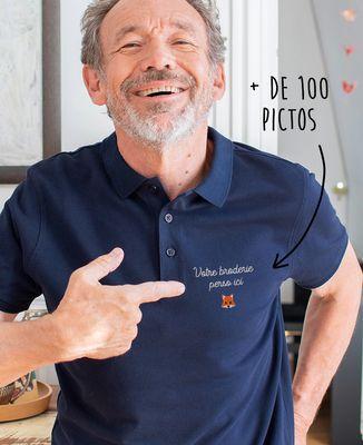 Polo homme Message et picto brodés personnalisé