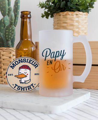 Chope de bière Papy en or