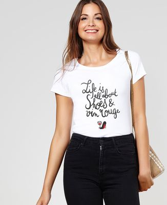 T-Shirt femme Shoes & Vin rouge