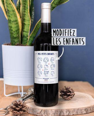 Bouteille de vin Mes petits enfants personnalisé