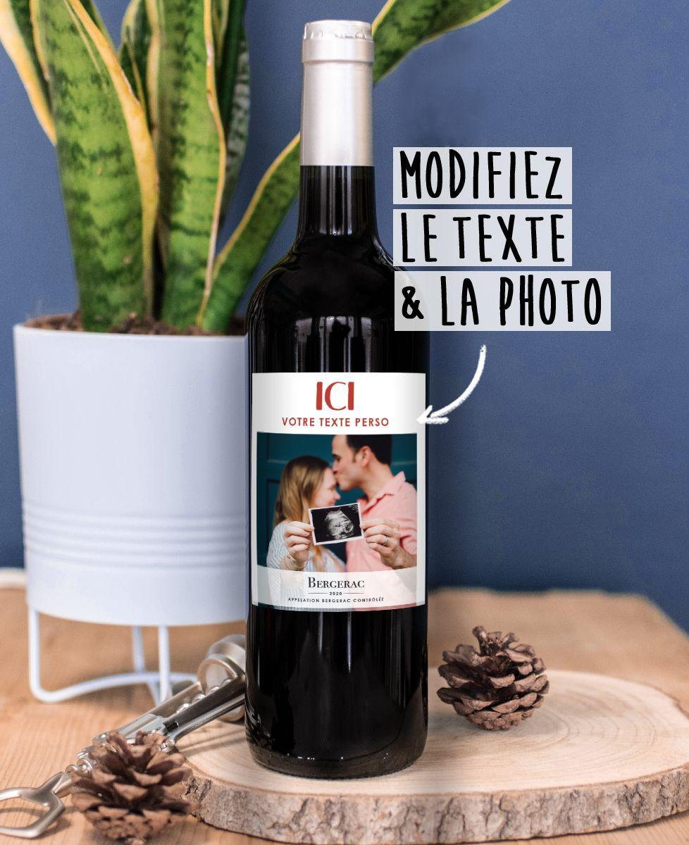 Bouteille de vin Photo et texte personnalisé
