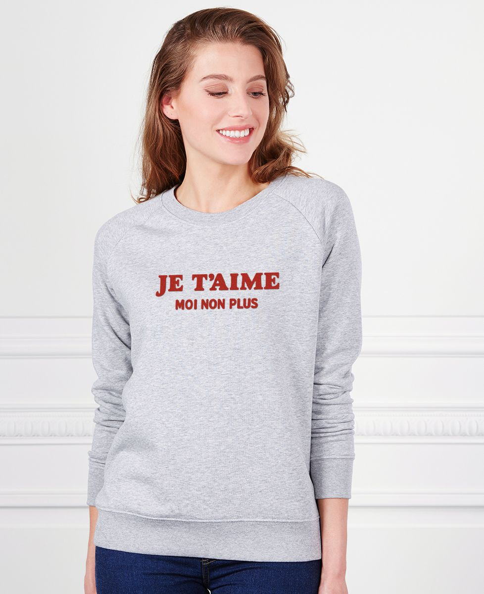 Sweatshirt femme Je t'aime moi non plus (effet velours)
