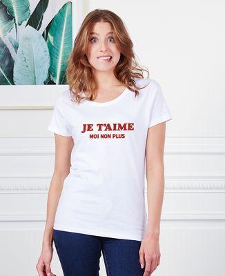 T-Shirt femme Je t'aime moi non plus (effet velours)