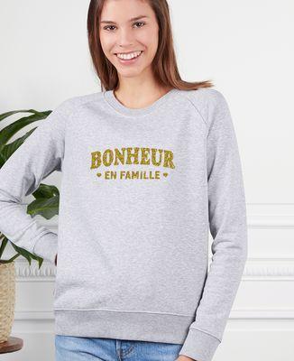 Sweatshirt femme Bonheur en famille (effet paillettes)