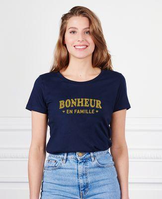 T-Shirt femme Bonheur en famille (effet paillettes)
