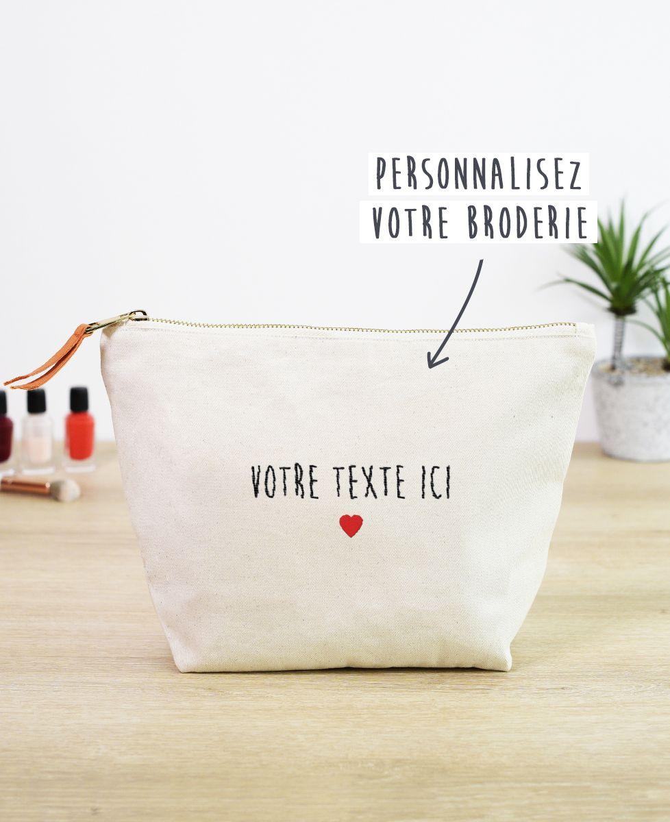 Trousse Petit coeur brodé personnalisé