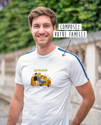 T-shirt homme recyclé Filgood Famille personnalisée cartoon