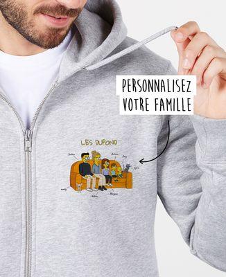 Hoodie zippé homme Famille personnalisée cartoon coeur