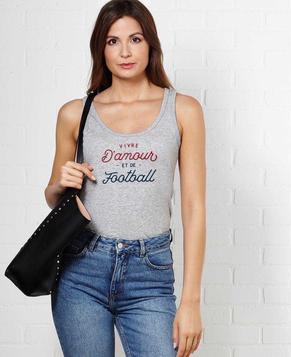 Débardeur femme Vivre d'amour et de football