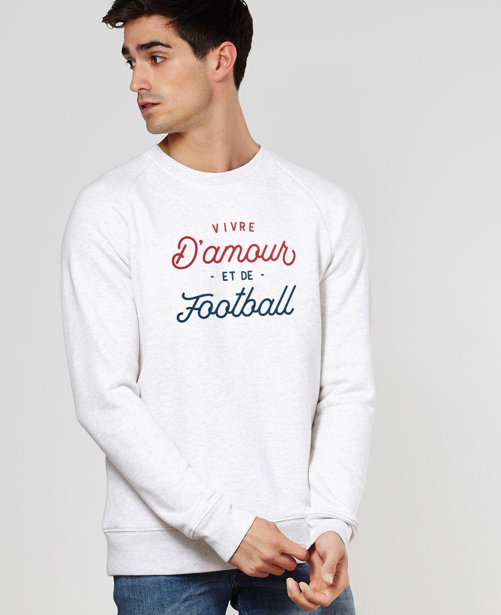 Sweatshirt homme Vivre d'amour et de football