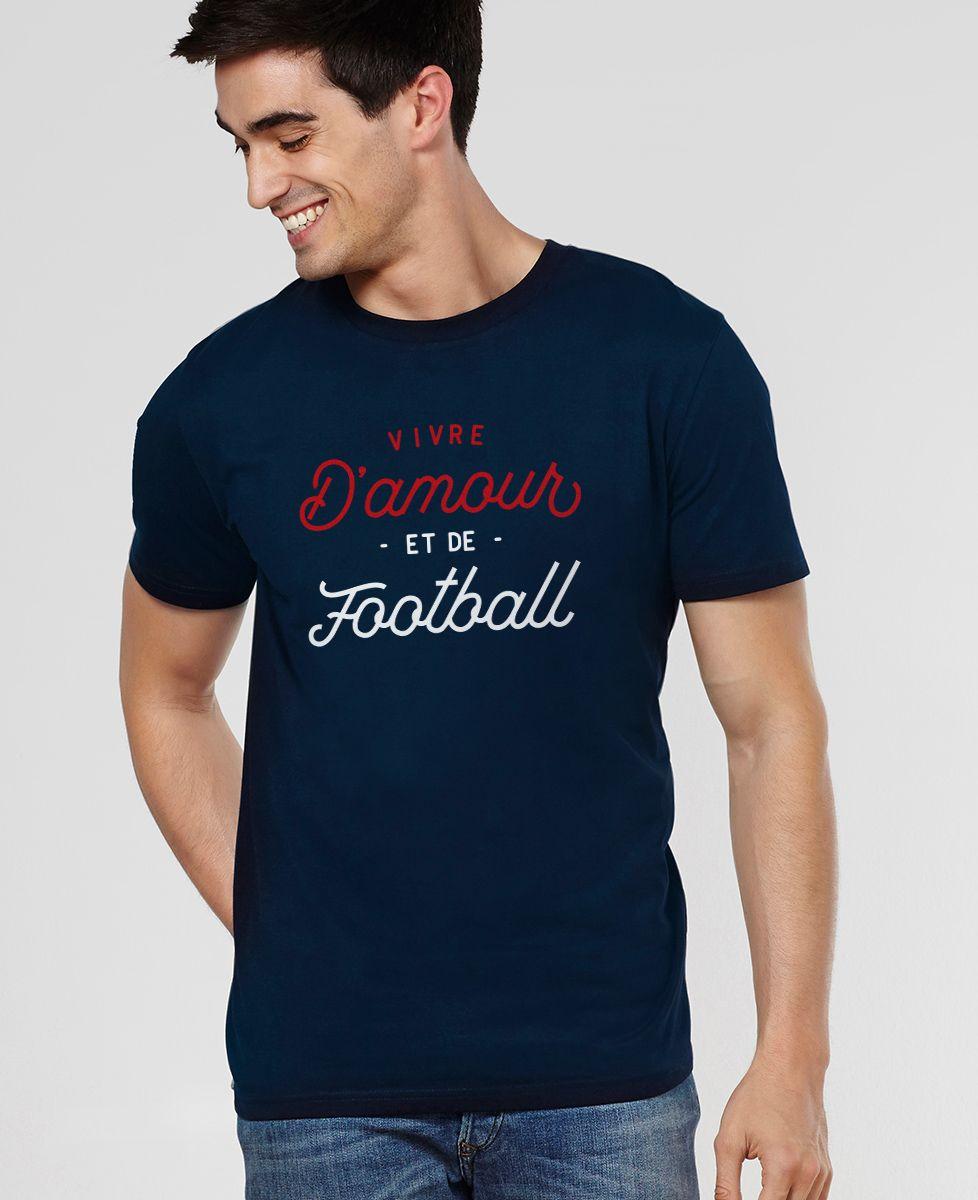 T-Shirt homme Vivre d'amour et de football