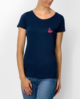 T-Shirt femme Écusson Bouée Flamant rose
