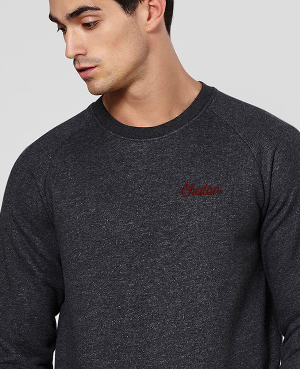Sweatshirt homme Chaton brodé