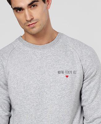 Sweatshirt homme Petit coeur brodé personnalisé