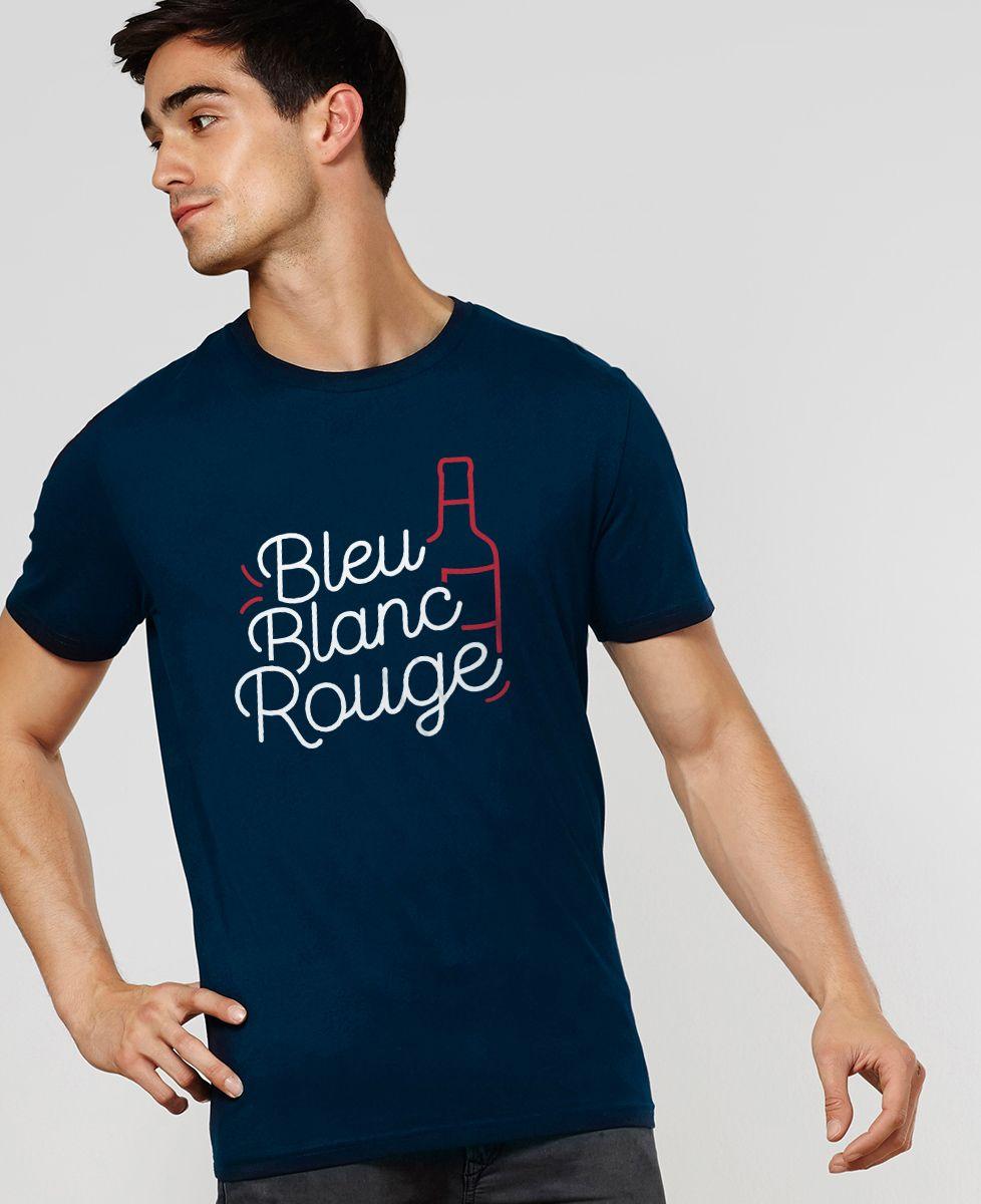 Homme Tee Shirt Bleu Blanc