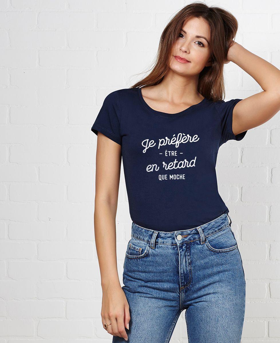 Être Préfère En Je Retard Femme T Shirt SpUVqzM