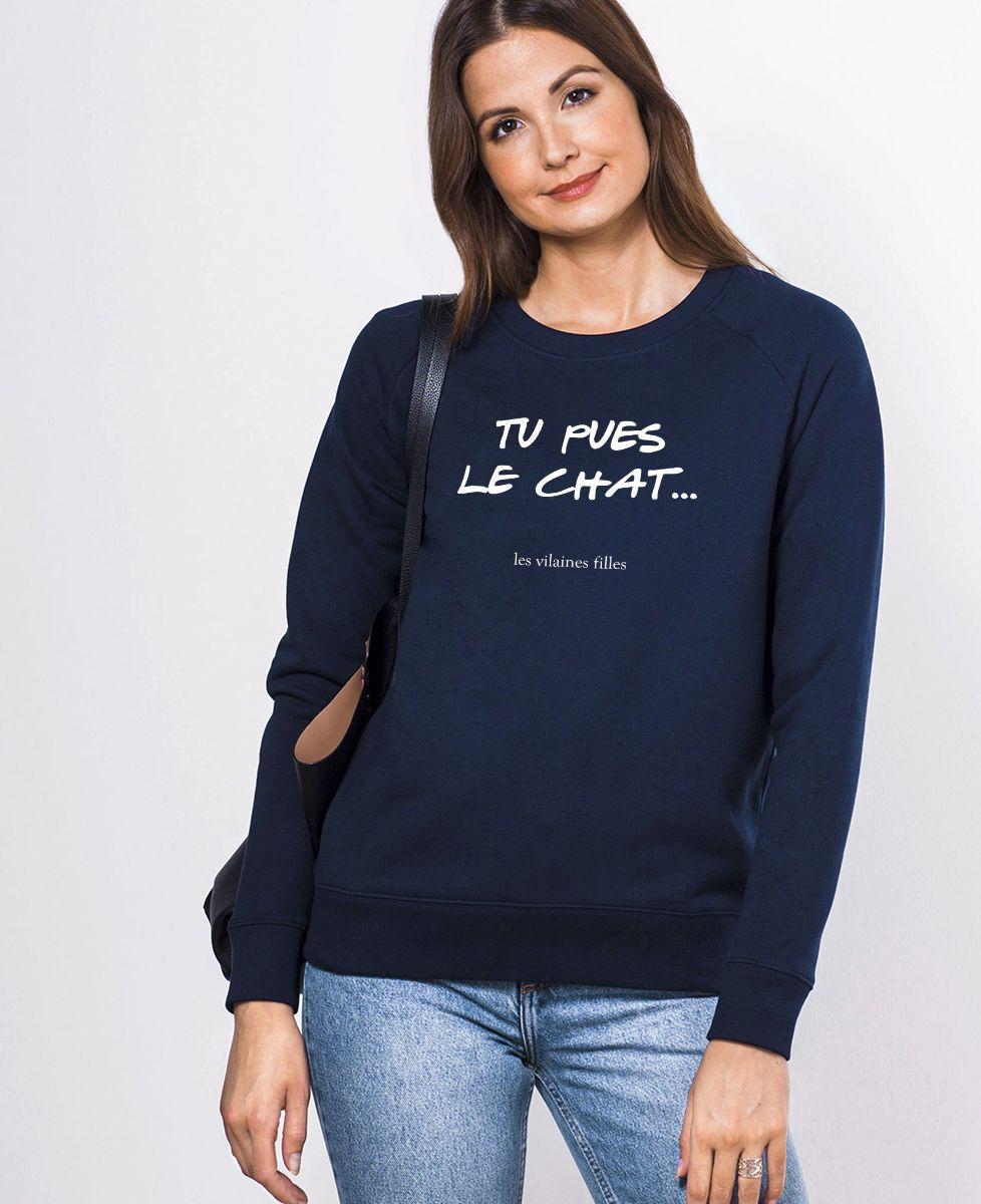 Sweatshirt femme Tu pues le chat