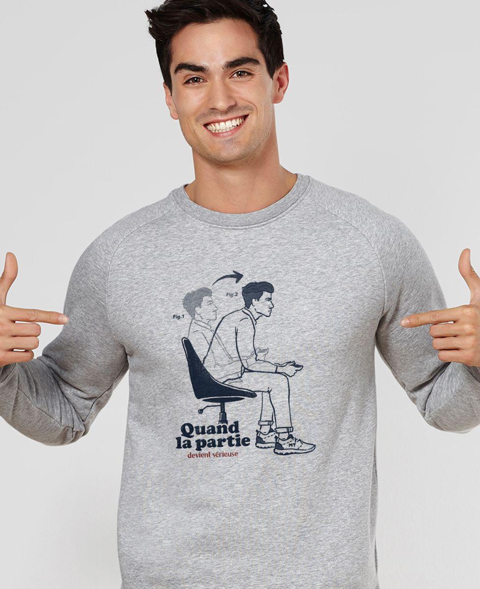 Sweatshirt homme Quand la partie devient sérieuse