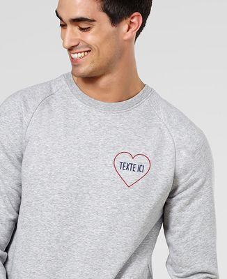 Sweatshirt homme Grand coeur brodé personnalisé