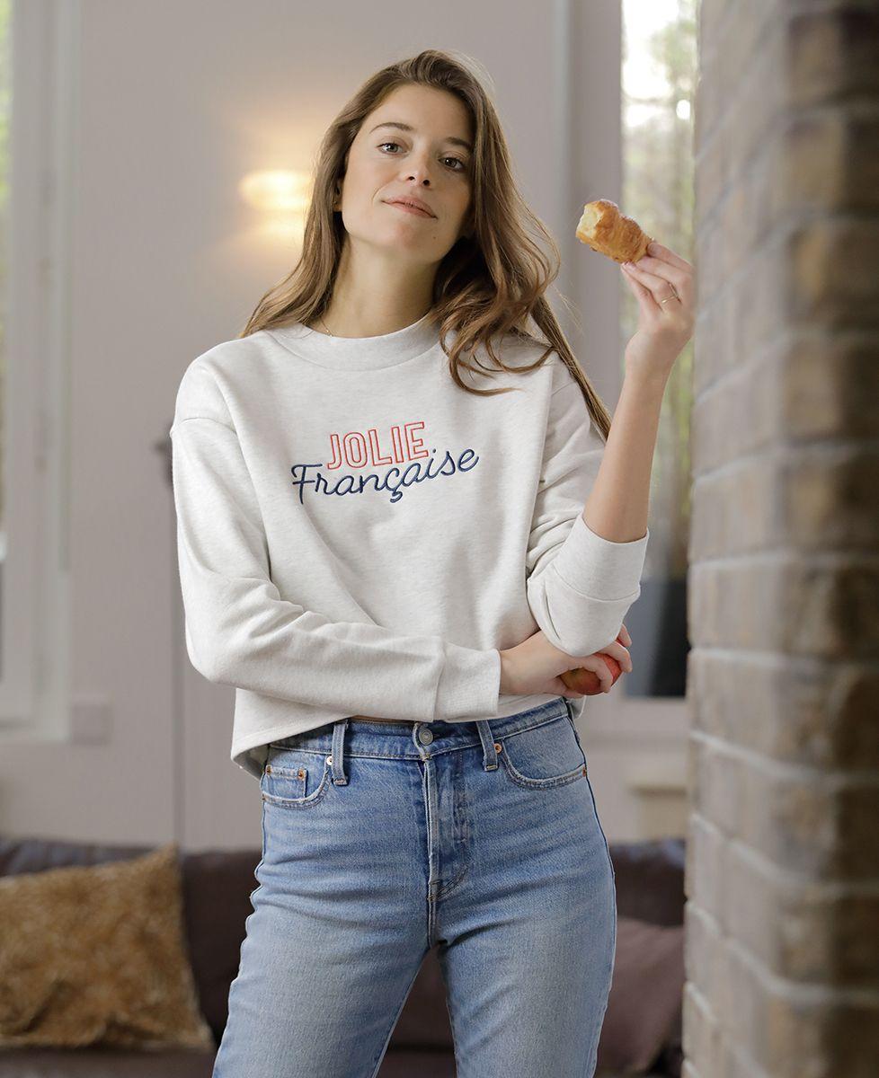 Sweatshirt femme Jolie française (Broderie)