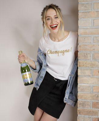 T-Shirt femme Champagne ! (Effet paillettes)