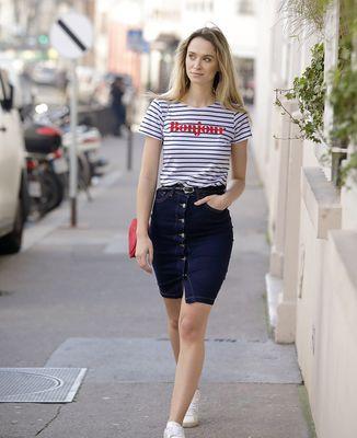 T-Shirt femme Bonjour (Effet velours)