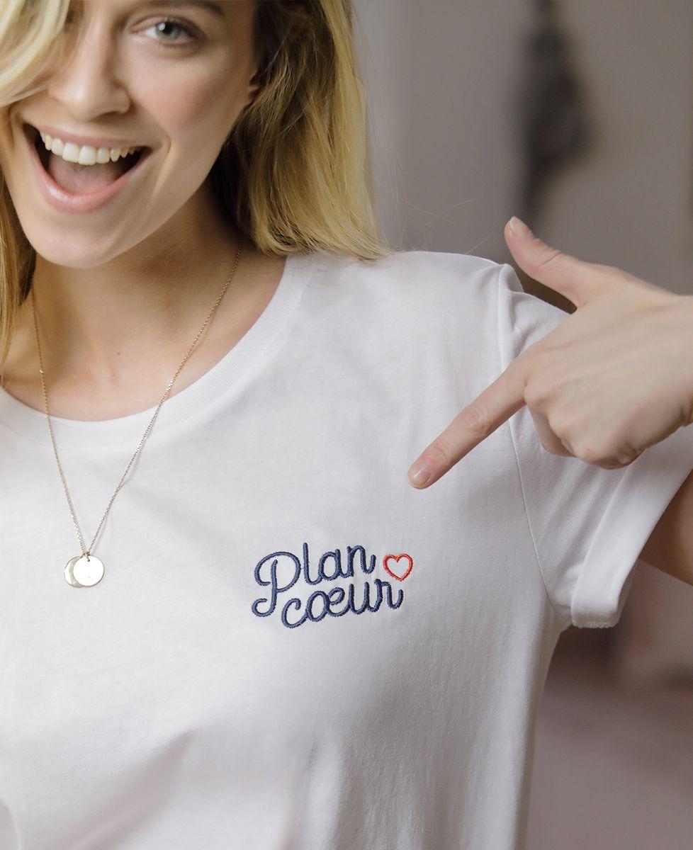 T-Shirt femme Plan coeur (Broderie)