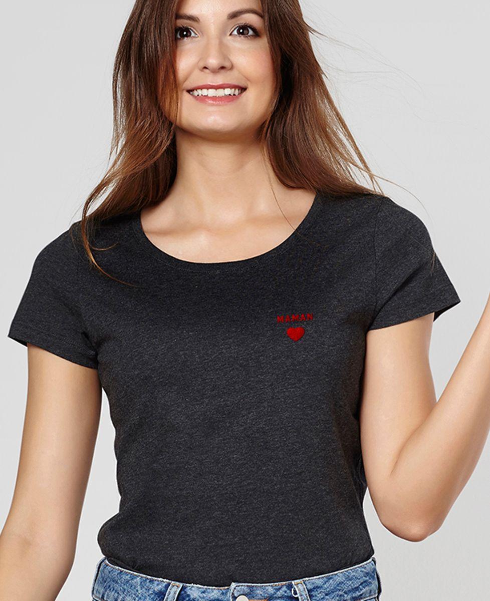 T-Shirt femme Maman Coeur (brodé)