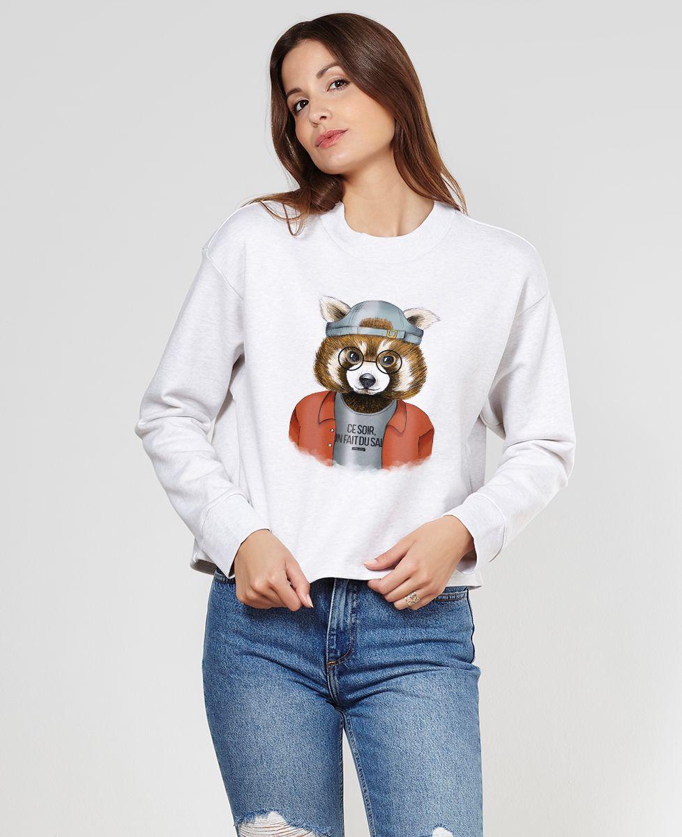 Sweatshirt femme Cool panda roux