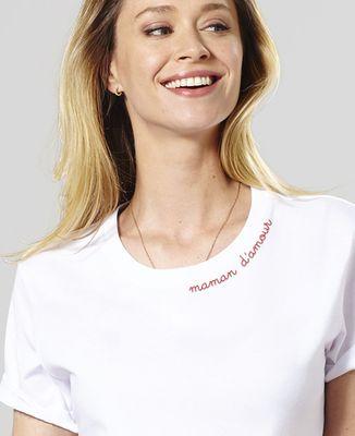 T-Shirt femme Maman d'amour - Broderie col