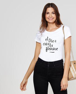 T-Shirt femme Dieu créa la flemme