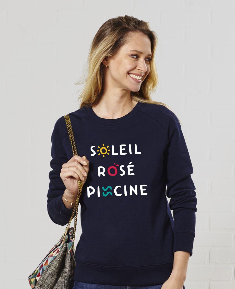Sweatshirt femme Soleil Rosé Piscine