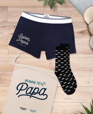 Coffret Boxer super papa + chaussettes moustaches