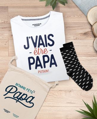 Coffret J'vais être papa + chaussettes moustaches