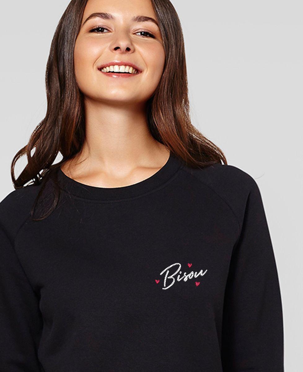 Sweatshirt femme Bisou coeur (brodé)